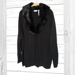 White Stag Black Fur Button Cardigan Sweater